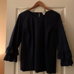 JCrew Factory Double Ruffle Sleeve Top in Navy